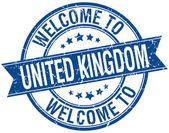 Welcome to United Kingdom blue round ribbon stamp — Stockvektor