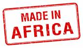 Made in Africa red square isolated stamp — Stock Vector