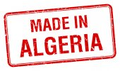 Made in Algeria red square isolated stamp — Stock Vector