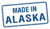 Made in Alaska blue square isolated stamp — Stock Vector