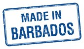 Made in Barbados blue square isolated stamp — Stockvektor