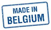 Made in Belgium blue square isolated stamp — Stock Vector