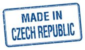 Made in Czech Republic blue square isolated stamp — Stock Vector