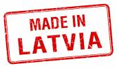 Made in Latvia red square isolated stamp — Stock Vector