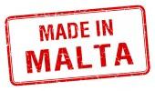 Fatto nel bollo isolato Piazza rossa Malta — Vettoriale Stock