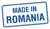 Made in Romania blue square isolated stamp — Stock Vector