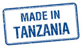 Made in Tanzania blue square isolated stamp — 图库矢量图片