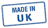 Made in uk blue square isolated stamp — Stock Vector