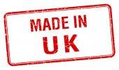 W Wielkiej Brytanii czerwony kwadrat na białym tle stempel — Wektor stockowy