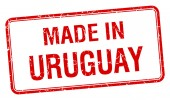 Made in Uruguay red square isolated stamp — Stock Vector