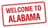 欢迎来到阿拉巴马州红 grunge 方形邮票 — 图库矢量图片