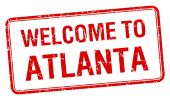 Welcome to Atlanta red grunge square stamp — Stock Vector