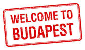 Welcome to Budapest red grunge square stamp — Vecteur