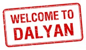 Welcome to Dalyan red grunge square stamp — Stock Vector