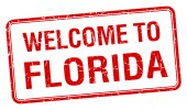 Welcome to Florida red grunge square stamp — Stock vektor