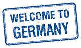 Welcome to Germany blue grunge square stamp — Stock Vector