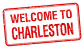 Welcome to Charleston red grunge square stamp — Stock Vector