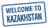 Welcome to Kazakhstan blue grunge square stamp — Stock Vector