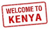 Welcome to Kenya red grunge square stamp — Stock Vector
