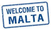 Bienvenue sur timbre carré de grunge bleu Malte — Vecteur
