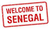 欢迎来到塞内加尔红色 grunge 方形邮票 — 图库矢量图片