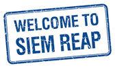 Hoş geldiniz siem biçmek mavi grunge kare pul — Stok Vektör