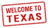 Welcome to Texas red grunge square stamp — Vettoriale Stock