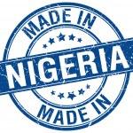 Made in Nigeria blue round vintage stamp — Stock Vector #76263577