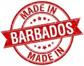 Made in Barbados red round vintage stamp — Cтоковый вектор