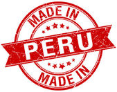 Made in Peru red round vintage stamp — Stock Vector