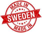 Made in Sweden red round vintage stamp — Vetor de Stock