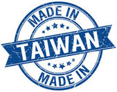 Made in Taiwan blue round vintage stamp — Vector de stock