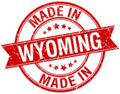 Made in Wyoming red round vintage stamp — Stock Vector
