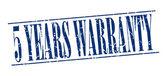 5 years warranty blue grunge vintage stamp isolated on white background — Stok Vektör