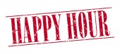 Happy hour red grunge vintage stamp isolated on white background — Stock Vector