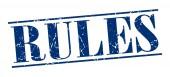 Rules blue grunge vintage stamp isolated on white background — Stok Vektör