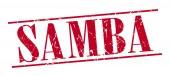 Sello vintage de samba grunge rojo aislado sobre fondo blanco — Vector de stock