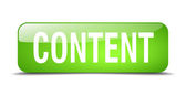 Content green square 3d realistic isolated web button — Wektor stockowy