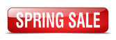 Spring sale red square 3d realistic isolated web button — Cтоковый вектор
