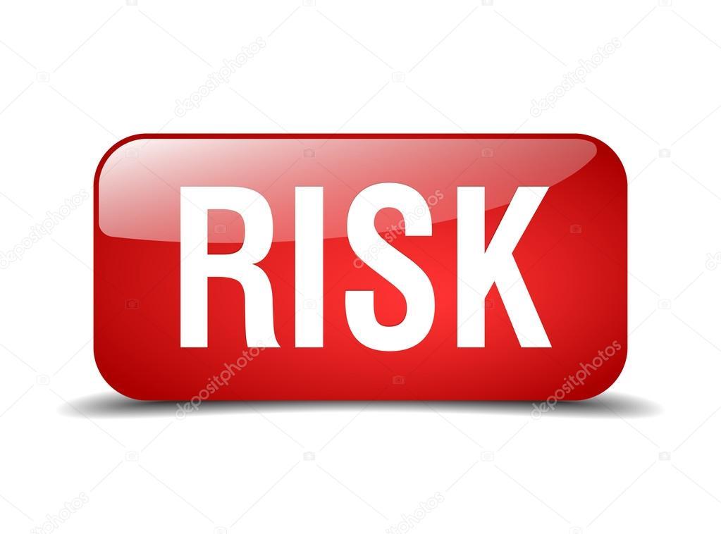 风险红色正方形 3d 现实隔离的 web 按钮– 图库插图
