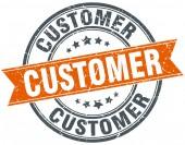 Müşteri yuvarlak turuncu grungy vintage izole damgası — Stok Vektör
