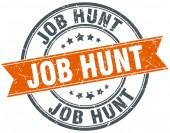 Job hunt round orange grungy vintage isolated stamp — Stock Vector