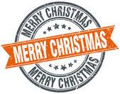 Vrolijk kerstfeest ronde oranje grungy vintage geïsoleerde stempel — Stockvector