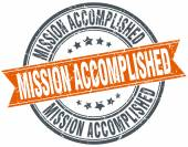 Mission accomplished round orange grungy vintage isolated stamp — Stock Vector