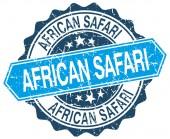 Selo de grunge redonda azul safari africano em branco — Vetor de Stock