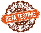 Beta test turuncu yuvarlak beyaz grunge damgası — Stok Vektör