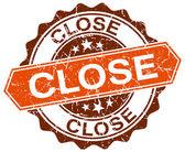 Close orange round grunge stamp on white — Stock Vector