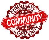Comunidade vermelha redonda carimbo grunge em branco — Vetor de Stock