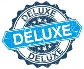 Deluxe Blau Runde Grunge Stempel auf weiß — Stockvektor