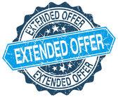 Extended offer blue round grunge stamp on white — Stock Vector